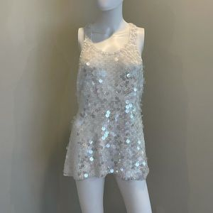 Rebecca Taylor white knit Paulette sequin dress